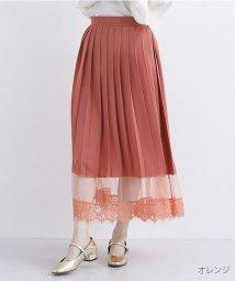 merlot/【plus】裾メッシュレースプリーツスカート/502332706