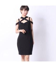 GUESS/ゲス GUESS VALORIE CRISSCROSS BODYCON DRESS (JET BLACK)/502333483