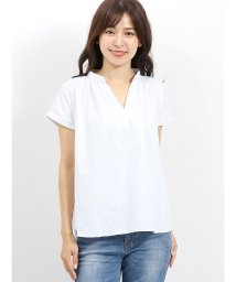 m.f.editorial/形態安定スキッパーギャザーノースリーブシャツ/502329134