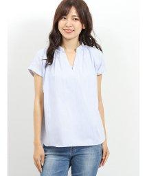 m.f.editorial/形態安定スキッパーギャザーノースリーブシャツ/502329135