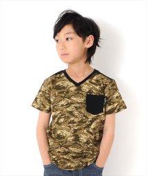 GLAZOS/カモフラ柄ポケットVネック半袖Tシャツ/502335981