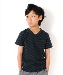 GLAZOS/ボーダーバイヤスVネック半袖Tシャツ/502335983