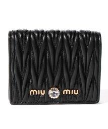 MIUMIU/【MIUMIU】2つ折り財布/マテラッセ クリスタル【BLACK】/502315444