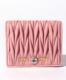 MIUMIU/【MIUMIU】2つ折り財布/マテラッセ クリスタル【ROSA】/502315445