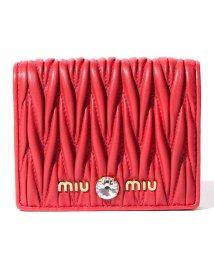 MIUMIU/【MIUMIU】2つ折り財布/マテラッセ クリスタル【RED】/502315446
