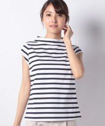MADAM JOCONDE/【洗える】ロールカラーTシャツ/コットン天竺ボーダー/502331471