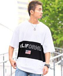 LUXSTYLE/米国旗ワッペン付き切り替えロゴプリント半袖Tシャツ/Tシャツ メンズ 半袖 五分袖 ビッグシルエット CALIFORNIA/502342563