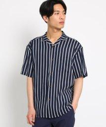 THE SHOP TK/ストライプ開襟半袖シャツ/502343762