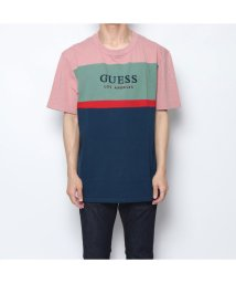 GUESS/ゲス GUESS OVERSIZED COLORBLOCK CREW TEE (ROGUE PINK MULTI)/502344180