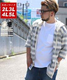 MARUKAWA/大きいサイズ メンズ 5分袖 ボーダー フルジップ パーカー/502305949