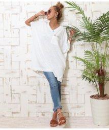anap mimpi/ALOHA刺繍VネックTシャツ/502316338