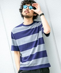 nano・universe/【WEB限定】梨地ワイドボーダーTシャツ 半袖/502328013