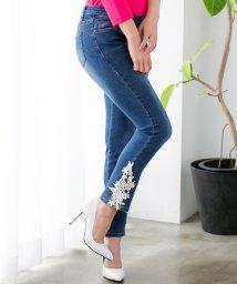 Julia Boutique/【XS~Lサイズ】一目惚れ級の可愛さを演出出来る女っぽデニム♪パール×刺繍レース付きウォッシュデニムスキニー/18130/502346105