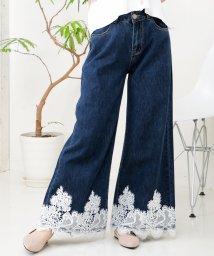 Julia Boutique/裾刺繍レース付きデニムワイドパンツ/510261/502346133