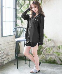 Julia Boutique/2点セット・開襟パイピングサテンシャツ×ショートパンツセットアップ・ルームウェア/530004/502346172