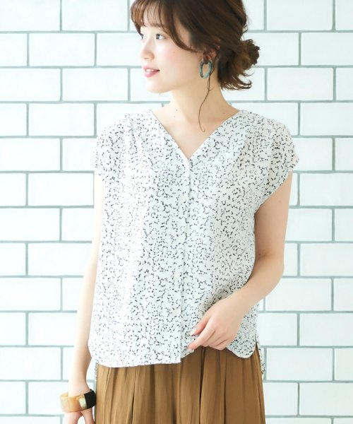 le.coeur blanc(ルクールブラン)/ニュアンスVネックフレンチシャツ/3095039730