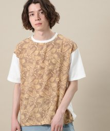 JUNRed/アロハ柄布帛切替Tシャツ/502338383