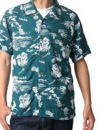 MARUKAWA/レーヨン アロハシャツ 総柄プリント オープンカラーシャツ/502323979