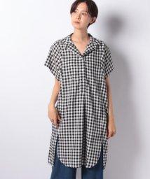 GeeRa/麻入りレーヨン素材スキッパーシャツチュニック/502329698