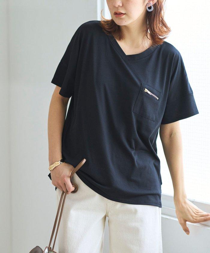 ジップポケットサイドタックゆるTシャツ