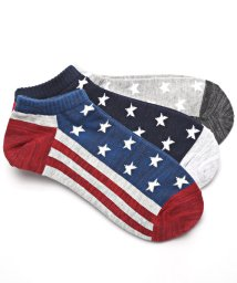 LUXSTYLE/Healthknit(ヘルスニット)アメリカンフラッグショートソックス 3足セット/靴下 ソックス メンズ くつした くるぶし 星条旗 アメリカ国旗/502351587