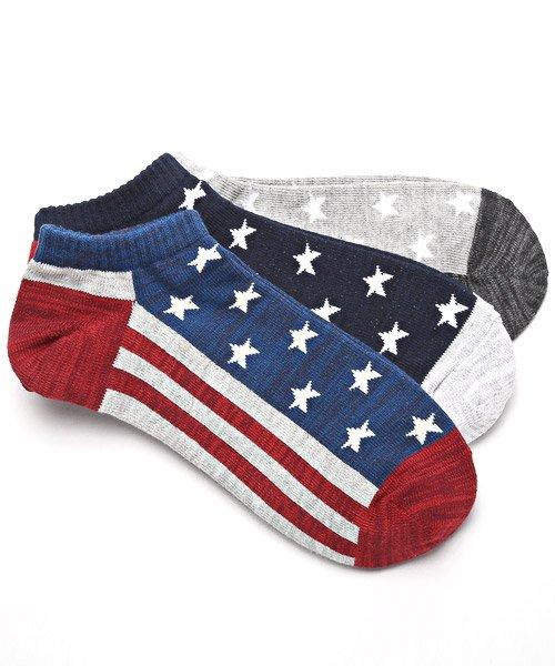 LUXSTYLE(ラグスタイル)/Healthknit(ヘルスニット)アメリカンフラッグショートソックス 3足セット/靴下 ソックス メンズ くつした くるぶし 星条旗 アメリカ国旗/pm-8406