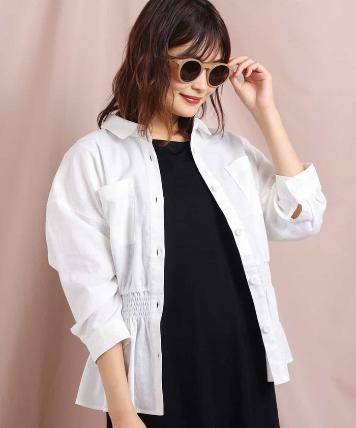 麻混ペプラムシャツジャケット