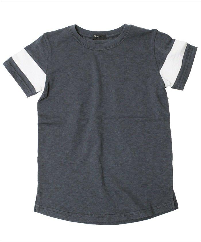 グラソス 袖ライン半袖Tシャツ レディース ネイビー 150cm 【GLAZOS】