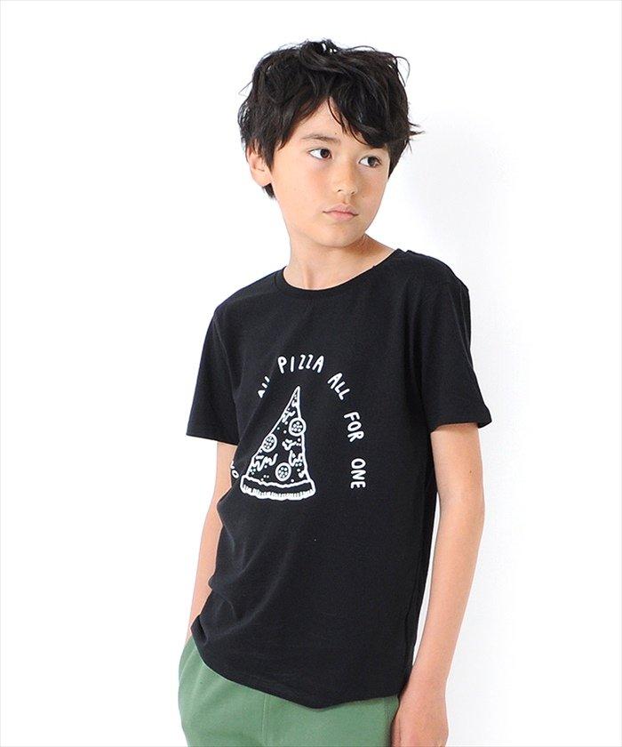 グラソス ピザイラスト半袖Tシャツ レディース ブラック 140cm 【GLAZOS】