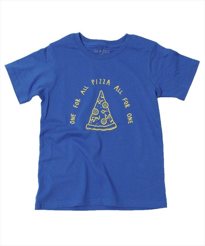 グラソス ピザイラスト半袖Tシャツ レディース ブルー 120cm 【GLAZOS】