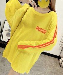 felt maglietta/ロゴプリントサイドラインロングTシャツ/502354899