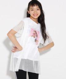 PINK-latte/メッシュ重ね転写 Tシャツ/502355022