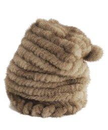 sankyoshokai/ミンク 帽子 編み込み ワッチキャップ ボンボン付き レディースモカブラウン/グレー/ブラウン/ブラック/502355991