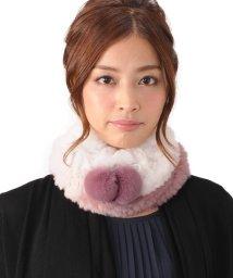 sankyoshokai/レッキス ファー 編み込み スヌード ボンボン付き/502356017