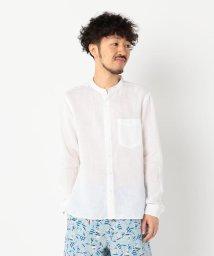 GLOSTER/フレンチリネンバンドカラーシャツ/502344409