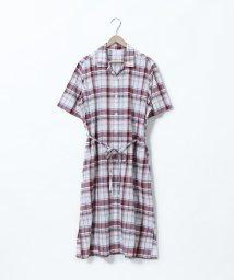 coen/綿麻チェックシャツワンピース/502357751