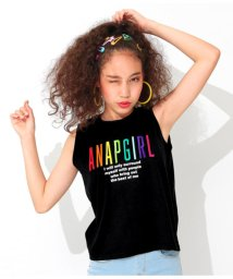 ANAP GiRL/カラフル刺繍ロゴノースリーブトップス/502361494