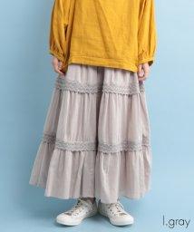 fillil/【ナチュラン掲載】レース切替ギャザースカート【ブランド:fillil】/502368257
