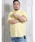 GRAND-BACK/【大きいサイズ】グランバック/GRAND-BACK リップル手書き風ストライププリント ボタンダウン半袖シャツ/502372393