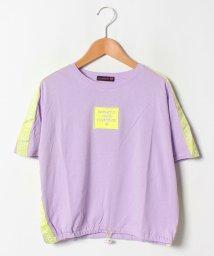 Lovetoxic/USAコットン 裾しぼりテープロゴTシャツ/502367606