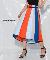 Settimissimo/パターンMIXベルト付きフレアースカート/502378909
