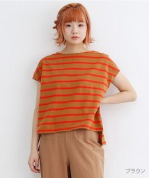 merlot/【TVドラマ着用】フレンチスリーブボーダートップス/502380013