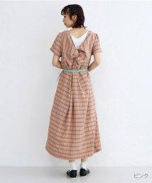 merlot/バックツイストチェック柄ワンピース/502380092