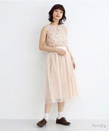 merlot/【plus】フラワーレース切替チュールスカートワンピース/502380201