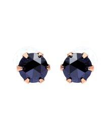 JEWELRY SELECTION/K18PG ブラックダイヤモンド 計0.3ct ローズカット 6本爪ピアス/502381047