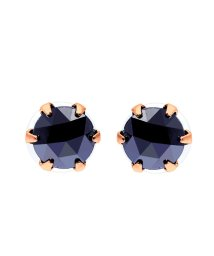 JEWELRY SELECTION/K18PG ブラックダイヤモンド 計0.5ct ローズカット 6本爪ピアス/502381051