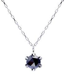 JEWELRY SELECTION/K18WG ブラックダイヤモンド 0.3ct ローズカット 6本爪ネックレス/502381066
