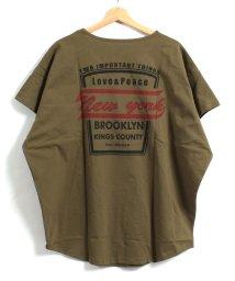felt maglietta/バックプリントロゴロング丈Tシャツ/502384288