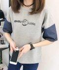 felt maglietta/ミニブルドッグ袖切替 ロゴTシャツ/502384306