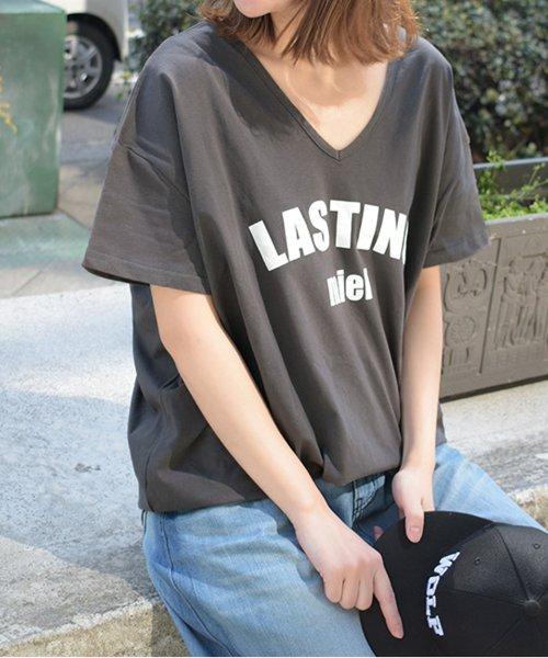 felt maglietta(フェルトマリエッタ)/シンプルロゴ両VネックオーバーTシャツ/am141